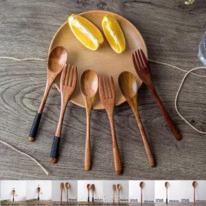 Muỗng nĩa bằng gỗ trang trí chụp ảnh đồ ăn