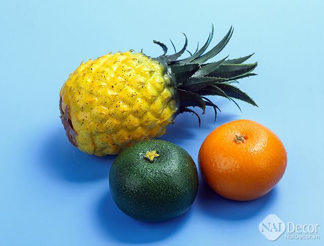 Phông chụp ảnh màu xanh dương chụp trái cây